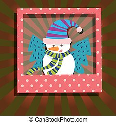 Snowman and Christmas Tree Greeting Card - Snowman and...