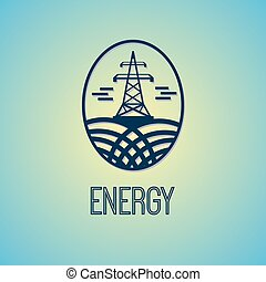 Electric Energy Tower Sign - Electricity Tower Vector Sign....