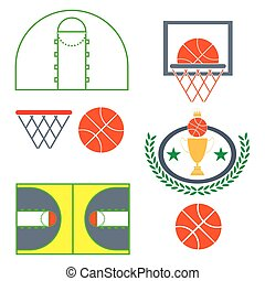 Basketball Game Objects Icons - Basketball objects Orange...