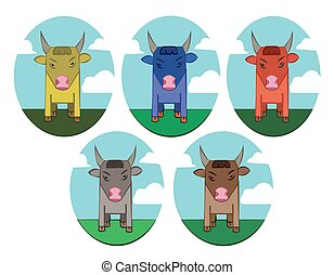 Bulls in Meadow Round Icons set - Bulls with Horns standing...