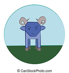 Sheep in Meadow Round Icon - Blue Sheep with Horns standing...