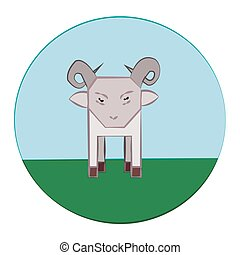 Sheep in Meadow Round Icon - Sheep with Horns standing in...