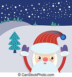 Santa Claus and Xmas Tree Greeting Card - Christmas Eve...