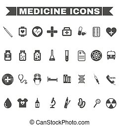 Healthcare Medical Vector Icons Set - Healthcare Black and...