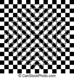 Bulging checkerboard illusion. The checkerboard is fully...