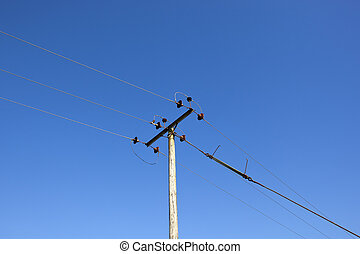 telegraph pole and blue sky - wooden telegraph pole with...
