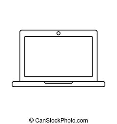 Laptop outline icon. Linear vector