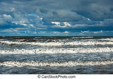 Baltic Sea coast on a stormy day.
