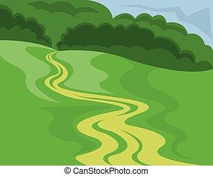 Landscape Country Road Illustration - Landscape Summer or...