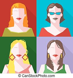 Women Vector icon set - Women Silhouette Vector icon set....