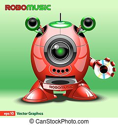 Red Music Robot with Loudspeakers
