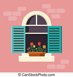 Outside House Window with Shutters - Outside House Arch...