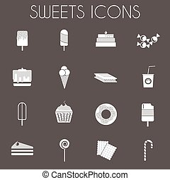 Black and White Sweets Icons Set - Sweets Icons Set. Sixteen...