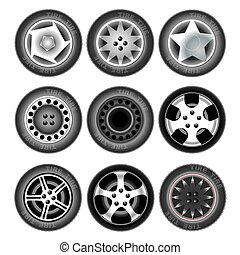 Vehicle wheels and tires - Collection of nine wheels with...