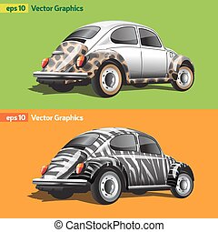 Retro Cars with Animal Print - Two Retro Cars Back and Side...