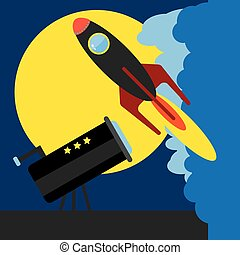 Flying Rocketship Illustration - Rocket Launch, Flying...