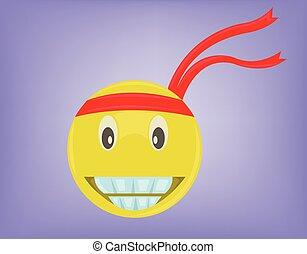 Smiley Face Joy Expression - Emoticon with Big Smile. Smiley...