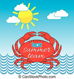 Hot Summer Seaside Crab Illustration - Hot Summer...