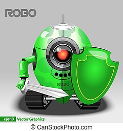Robot Warrior with Shield and Sword
