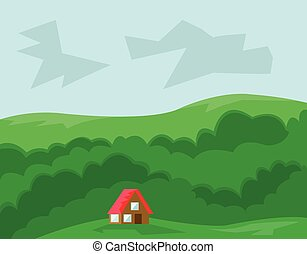 House with Red Roof in the Wood