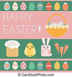 Happy Easter Card - Happy Easter Greeting Card Easter Bunny,...