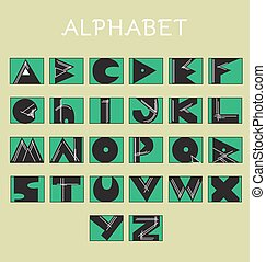 Geometrical Sketchy Alphabet Letters