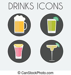 Drinks Cocktail Glasses icon Set - Drinks Cocktail Glasses...