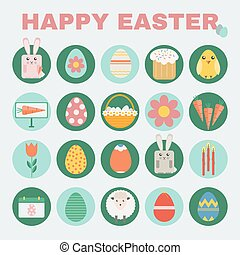 Happy Easter icon set - Happy Easter Colorful icon set...
