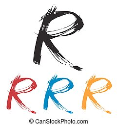 Ink drawn typography Sketchy Letter R