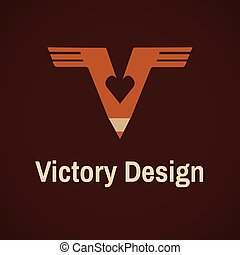 Victory Logotype Vector Sign - Victory Logotype Symbol Heart...
