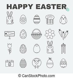Happy Easter icon set - Happy Easter Black and White icon...