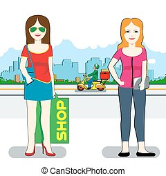 Shopping Day Vector illustration - Shopping Day. Two Smiling...