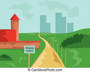 Country Farm with Road to City - Countryside View Barn with...