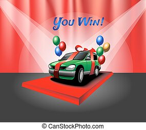 Car with Red Ribbon and Balloons