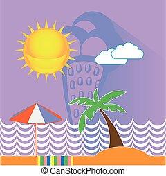 Blue Ice Cream Seaside Illustration
