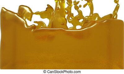 turbulent yellow liquid filling the frame. syrup - turbulent...