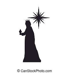 magi man king and sparkle star. silhouette vector...