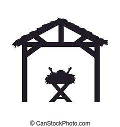 manger traditional design - baby jesus in a manger...