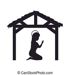manger traditional design - virgin mary on her knees praying...
