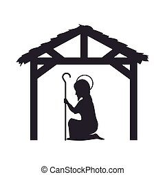 manger traditional design - saint joseph on his knees and...