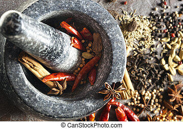 Mortar and Pestle with Spices - Granite mortar and pestle...