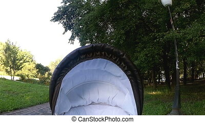 Baby carriage riding in the park - Black baby carriage...