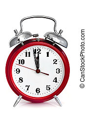 Alarm Clock - Old red alarm clock, showing two minutes to...