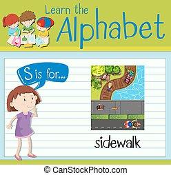 Flashcard letter S is for sidewalk illustration