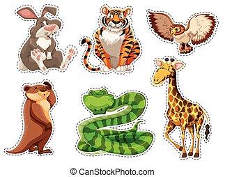Sticker set of wild animals