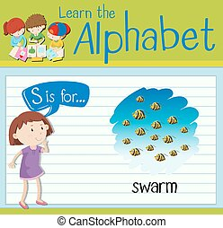 Flashcard letter S is for swarm illustration