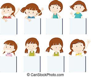 Different girl characters holding blank signs illustration