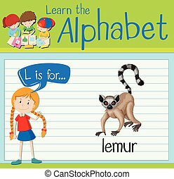 Flashcard letter L is for lemur illustration