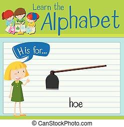 Flashcard letter H is for hoe illustration