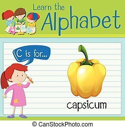 Flashcard letter C is for capsicum illustration